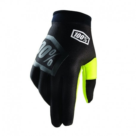 Guantes 100% Itrack Negro Fluo